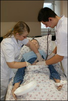 Nursing students during a practical class